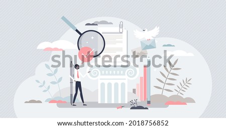 Academic writing and educational literature publishing tiny person concept. Scientific document grammar research and text reading for school graduation and wisdom development vector illustration. Photo stock ©