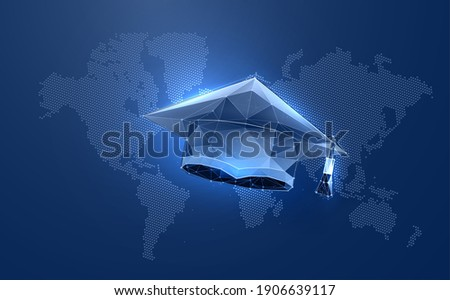 Academy graduate hat in digital futuristic style. Online education concept on world map background. Vector illustration Stock photo ©
