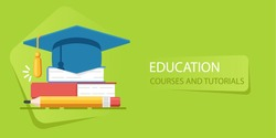 Academy hat, heap of books, university education, study of school flat vector illustration