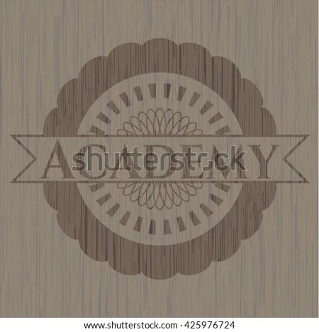 Academy retro style wood emblem
