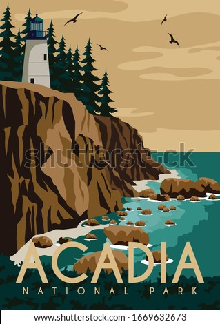 Acadia National Park Background. Travel to Maine East Coast United States. Flat Cartoon Vector Illustration in Colored Style. ストックフォト ©