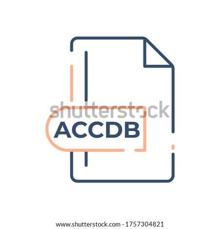 ACCDB file format icon. Microsoft Access file format line icon.