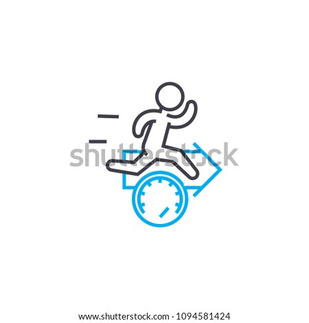 Accelerated work pace linear icon concept. Accelerated work pace line vector sign, symbol, illustration.