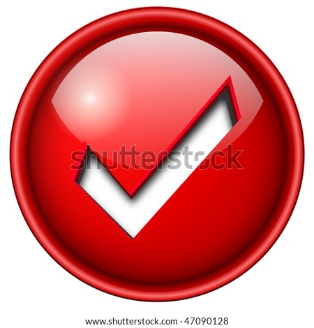 Accept mark, sign icon, button, 3d red glossy circle.