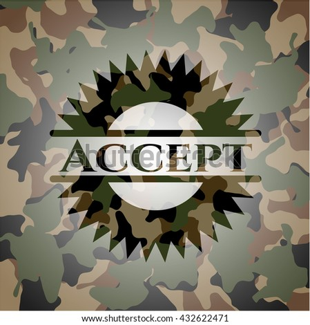 Accept on camo pattern