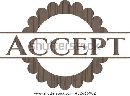 Accept retro style wood emblem
