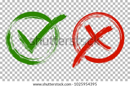Acceptance and rejection symbol vector buttons for vote, election choice. Circle brush stroke borders. Symbolic OK and X icon isolated on transparent.Tick and cross signs, checkmarks design.