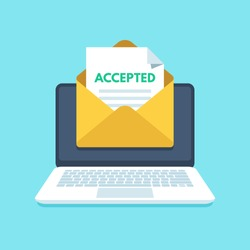 Accepted email in envelope. College accept, acceptance success or university admission receiving agree letter. Mail recruitment job success in laptop inbox flat vector illustration