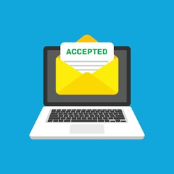 Accepted email in envelope. Laptop and Envelope with accepted header, subject line. Marketing, internet advertising concepts. Message of College acceptance admission or employment. Vector EPS 10.