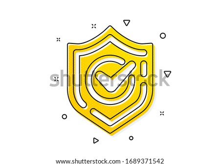 Accepted or Approve sign. Check mark icon. Tick shield symbol. Yellow circles pattern. Classic confirmed icon. Geometric elements. Vector