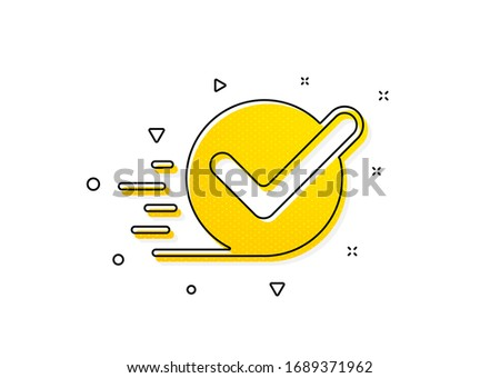 Accepted or confirmed sign. Approved icon. Yellow circles pattern. Classic checkbox icon. Geometric elements. Vector