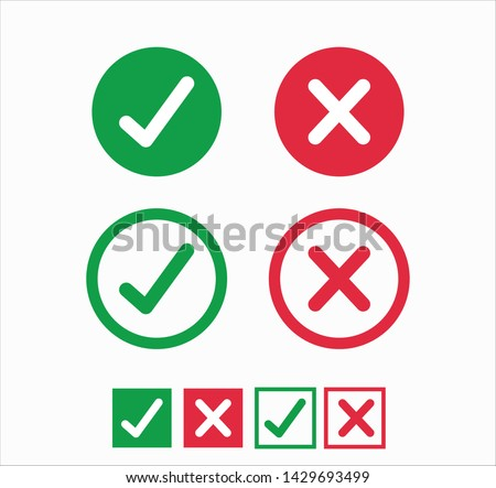Accepted/Rejected, Approved/Disapproved, Yes/No, Right/Wrong, Green/Red, Correct/False, Ok/Not Ok - vector mark symbols in green and red. Stock fotó ©