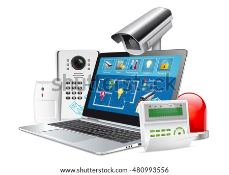 Access control concept - home security system