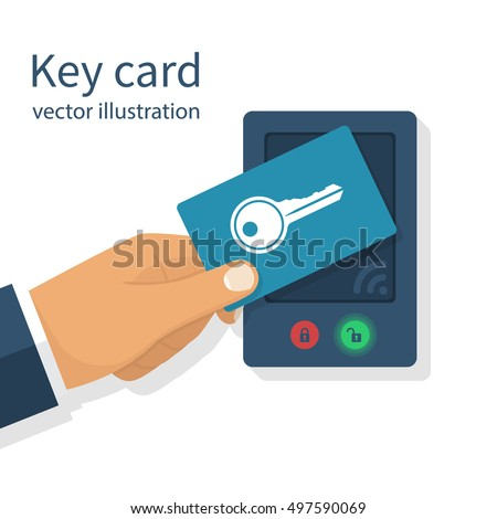 Access control. Key card in hand man. Electronic modern system for opening, closing, lock and unlock doors. Touch sensor. System safety, protection. Vector illustration flat design.