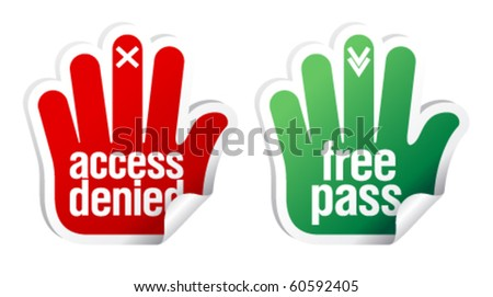 Access denied and free pass stickers set