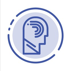 Access, Human, Manipulate, Mind, Switch Blue Dotted Line Line Icon