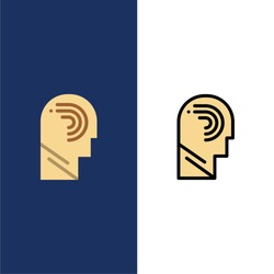 Access, Human, Manipulate, Mind, Switch  Icons. Flat and Line Filled Icon Set Vector Blue Background