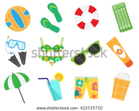 Accessories for the summer holidays design flat. Ball for beach volleyball,  life buoy and flip-flops, sunglasses and inflatable ice cream man isolated on white background. Vector illustration