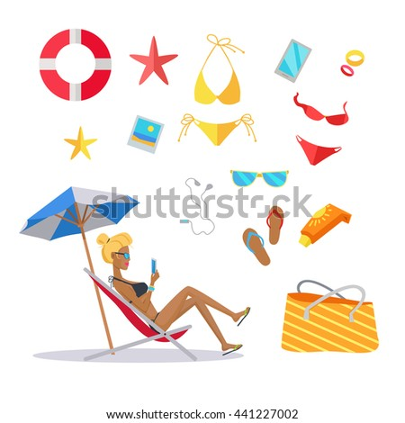 Accessories for the summer holidays design flat. Ball for beach volleyball, life buoy and flip-flops, sunglasses and inflatable ice cream woman isolated on white background. Vector illustration
