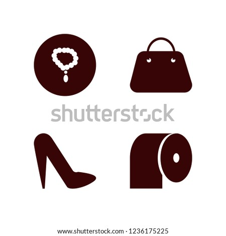 accessories icon. accessories vector icons set necklace, handbag, women shoes and toilet paper