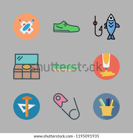 accessories icon set. vector set about dresser, safety pin, pencil case and paint tube icons set.