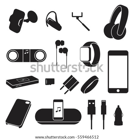 Accessories / objects for mobile phones silhouette icons
