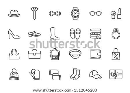 Accessory, Fashion Line Icons. Vector Illustration Included Icon as Footwear, High Heels Shoes, Bow Tie, Backpack, Knitted Clothes and other Apparel Flat Pictogram for Cloth Store. Editable Stroke Foto stock ©