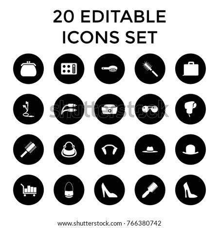 Accessory icons. set of 20 editable filled accessory icons such as hair brush, hat, woman shoe, case, nurse hat, earphones, earphone wire, sunglasses, eyeshadow palette
