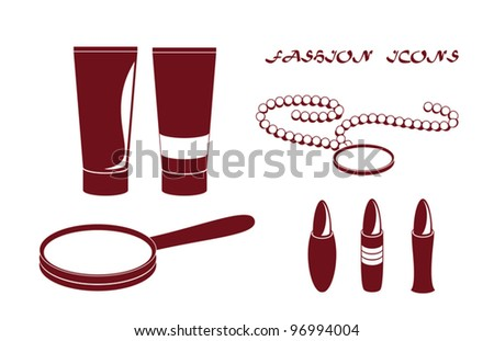 Accessory icons - tubes, lipsticks, hand mirror and beads, vector illustration. Raster version available in my portfolio