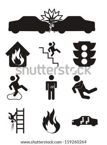accident icons over white background. vector illustration
