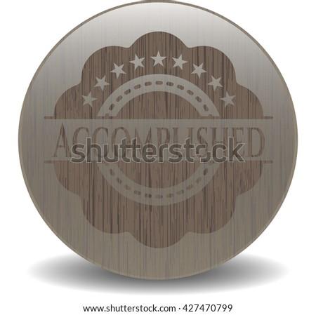 Accomplished wood icon or emblem