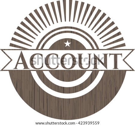 Account badge with wood background