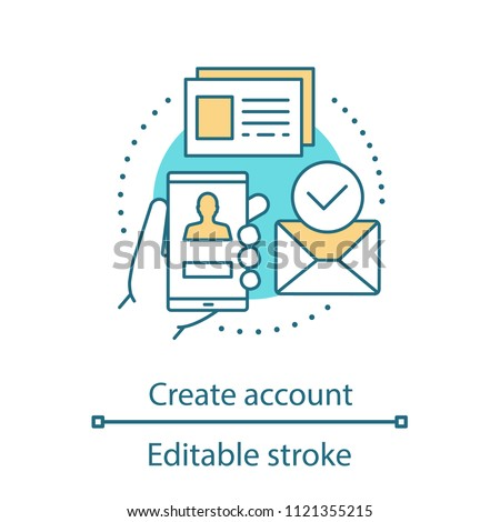Account creating concept icon. New user registration idea. Thin line illustration. Authorization. Homepage. Vector isolated outline drawing. Editable stroke