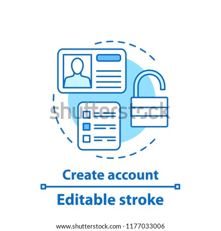 Account creation concept icon. User profile idea thin line illustration. Sign up. Authorization. Vector isolated outline drawing. Editable stroke
