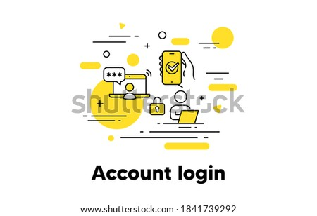 Account login line icon. New user register. Registration concept illustration. Hand holding phone with approved access. Account register, user login, sign up password icon. Editable stroke. Vector