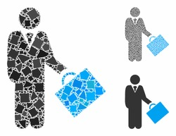 Account manager mosaic of ragged elements in various sizes and color tones, based on account manager icon. Vector bumpy dots are grouped into mosaic. Account manager icons collage with dotted pattern.