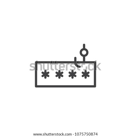 Account password and fishing hook outline icon. linear style sign for mobile concept and web design. Data phishing, hacking simple line vector icon. Symbol, logo illustration. Pixel perfect vector