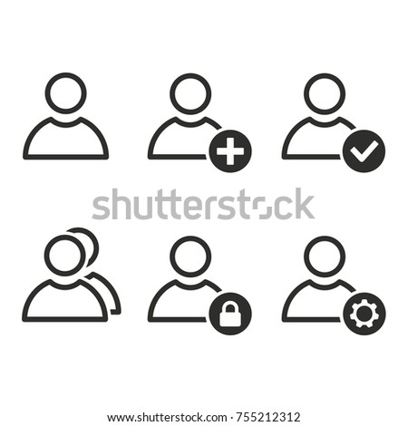 Account vector icons set. Black illustration isolated for graphic and web design.
