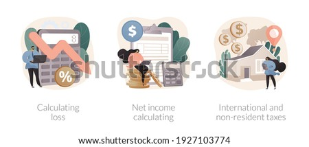 Accountancy service abstract concept vector illustration set. Calculating loss, net income calculating, international and non-resident taxes, profit estimation, net income formula abstract metaphor. Foto stock ©
