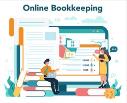 Accountant online service or platform. Professional bookkeeper website. Concept of the tax calculating and financial analysis. Vector illustration