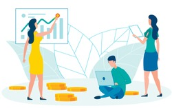Accountants Cooperation Flat Vector Illustration. Finance Experts, Brokers, Financiers Analysing Market Growth Rates Cartoon Characters. Woman Tracing Increasing Diagrams. Man Working on Laptop