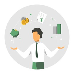 Accounter balance finansial icons. Accounitg and audit concept. Modern colorful design. Vector illustration.