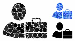 Accounter composition for accounter icon of round dots in various sizes and color tints. Vector round dots are united into blue collage. Dotted accounter icon in usual and blue versions.