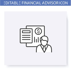 Accounter line icon. Finance account specialist. Consulting in business, accounting and financial control. Capital management and improvement. Isolated vector illustration. Editable stroke