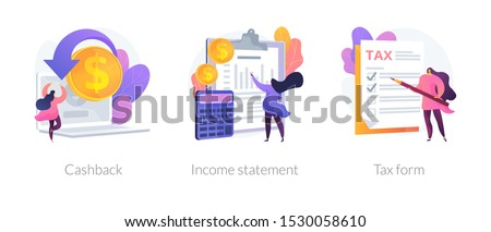 Accounting and bookkeeping cartoon web icons set. Money online refund. Financial consulting. Cashback, income statement, tax form metaphors. Vector isolated concept metaphor illustrations