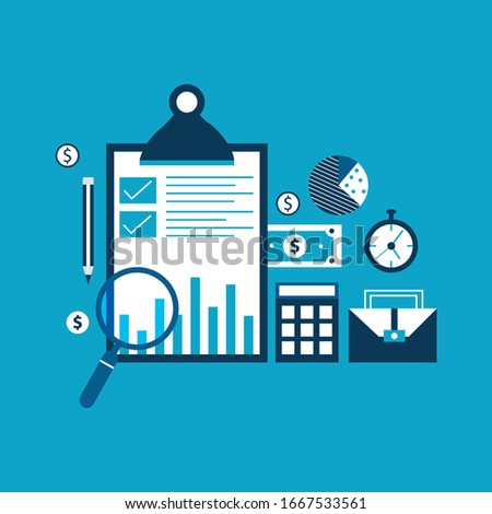 Accounting and taxes flat vector illustration design. Business concept for financial analysis, planning and strategy, financial report, financial market research. Stockfoto ©