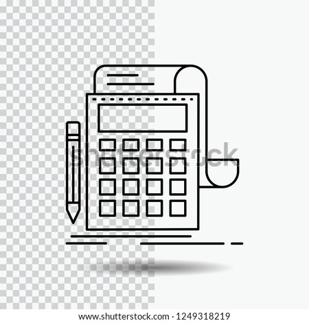 Accounting, audit, banking, calculation, calculator Line Icon on Transparent Background. Black Icon Vector Illustration Stock photo ©