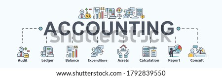 Accounting banner web icon for business company, audit, ledger, income statement, balance sheet, expenditure, calculation and consult. Minimal vector cartoon infographic.