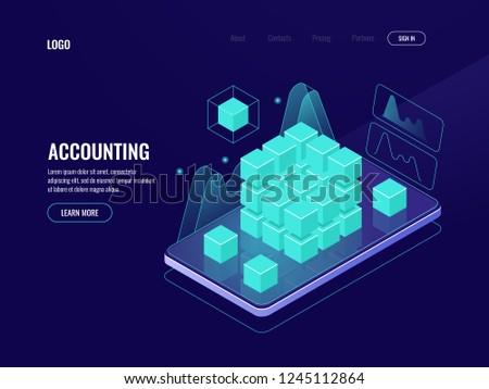 Accounting, big data, blockchain technology isometric icon, mobile phone data visualization dark neon vector