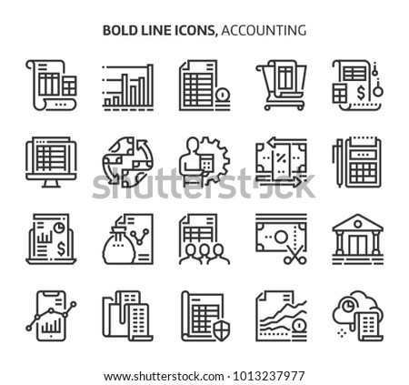 Accounting, bold line icons. The illustrations are a vector, editable stroke, 48x48 pixel perfect files. Crafted with precision and eye for quality.